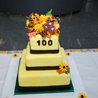 Native Wildflowers Cake Topper with gumpaste native wildflowers and fall leaves celebrating Lady Bird Johnson Centennial for Native Plant Center