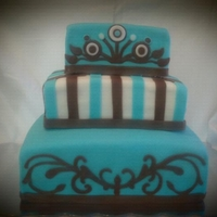 Tiffany Blue And Brown Wedding Cake Peacock design cake.