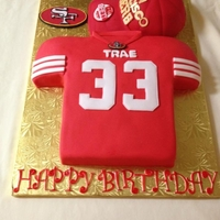 49Er Jersey And Cap Red Velvet jersey cake with Gold cream cheese filling, Classic yellow cake for cap with chocolate icing. 33rd birthday cake. Fondant...