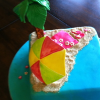 Beach Birthday Cake My daughter designed this for her 9th birthday. She was sweet and wanted it simple, and chose a square cake with an umbrella and palm tree...