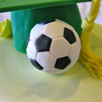 "Soccer Hs Grad. Everything is edible. Soccer balls are pieced together, hollow and about 1 1/2 "" wide. Name on edible diploma has been blurred for..."