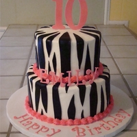 Zebra Striped Birthday Cake   Zebra striped birthday cake with pink fondant accents.