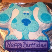 Birthday Cake wilton blues clues cake pan for one of the birthdays. strawberry cake with buttercream icing