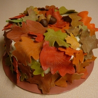 Autumn Leaves Pumpkin cake, cream cheese icing and chocolate leaves.