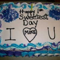 Our 1St Sweetest Day Cake 13x9 inch marble cake all done in buttercream