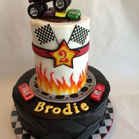 Monster Truck Cake Monster Truck Cake. Crusting buttercream with fondant decorations and toy cars.