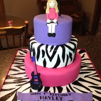 A Zebra Rockstar Cake For My Daughters 4Th Birthday   A zebra rockstar cake for my daughter's 4th birthday!