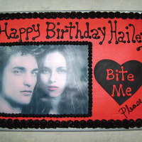Twilight! I made this cake for my daughter's 10th birthday. Bella and edward edible image.