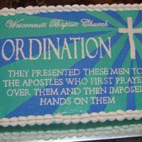 Ordination A buttercream-transfer design for a reception following an Ordination Service.