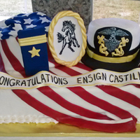 Navy Officer Commissioning Cake This sheet cake with a round cake draped with flag and another round cake as the hat was the centerpiece to a Navy officer commissioning...