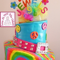 Fun 60's-Theme Birthday Blast This topsy-turvy cake is covered in fondant. The tie-dye design on the bottom tier is hand-painted on with a thinned mixture of royal icing...