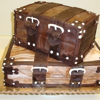 Suitcases Cake stacked suitcases grooms cake with brown fondant and detail