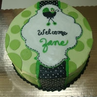 Green Baby Shower Cake Green Baby shower cake with fondant circles