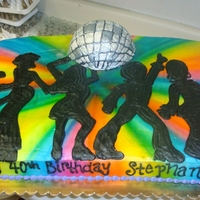 70S Disco Cake 1970s cake with 3D Disco ball