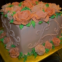 "Buttercream Roses 8"" Square - Sour Cream White cake with Vanilla Buttercream icing. Buttercream roses and piping."
