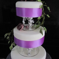 Gothic Rose 3 tier cake with purple rose