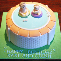 Swimming Pool Cake A swimming pool cake for two brothers celebrating their birthdays together. Chocolate mudcake covered in chocolate ganache and fondant...