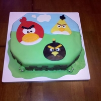 Angry Birds Two layer cake, frosted in buttercream, covered in marshmallow fondant with Angry Bird created fondant pieces on top, boxes and pigs in...