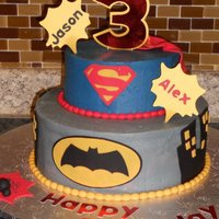 Superhero Batman Superman Cake