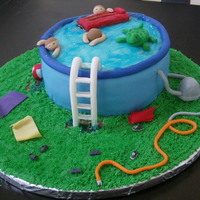 Pool Vanilla cake w/chocolate frosting covered in fondant. The water is colored food gel and the beach balls, filter and floats are gluten free...