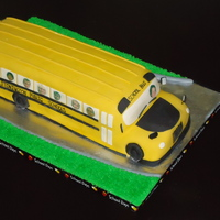 School Bus Graduation Cake dairy and peanut free cake for a pre-k graduation