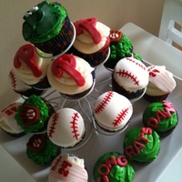 Phillies Cupcakes  Phillies Cupcakes mades for my friend's bachelorette party that was at the Phillies game when they won the NL East in 2011. Red velvet...
