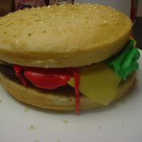 Hamburger This cake was for my sons 9 th b-day. Very easy to do this was the first one like this i did.