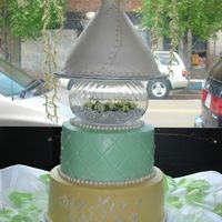 Bridal Shower My first stacked cake!!! It was a huge hit and the bride-to-be loved it. The tiers are 10 in, 8 in, and the wonder mold pan. The embroidery...
