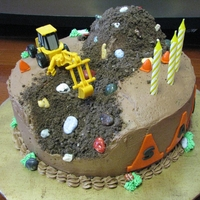 Construction Cake Chocolate cake and icing, fondant cones, purchased front loader. The birthday boy loved it.