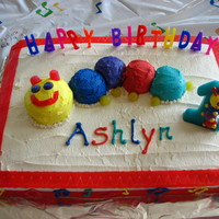 1St Birthday For Ashlyn Baby Einstein cake with purchased candle. I used fruit roll-up strips for cake edge, gumdrops for eyes and feet.