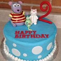 Toopy And Binoo Toopy and Binoo are made from a fondant/gumpaste mix, cake is covered with buttercream. I'm very happy how it turned out!