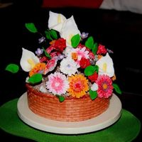 Flower Arrangement In A Basket Floral arrangement birthday cake