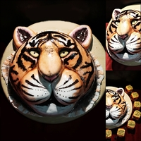 Tiger Cake Tiger cake, fondant decoration