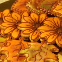 Fall Time Cookies Shortbread cookies, covered in fondant and brushed with shimmer dust