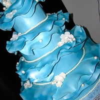 Ruffled Wedding Cake I was asked to make a cake similar to Marina Sousa's ruffled cake in ice blue, and this is what it turned out like.
