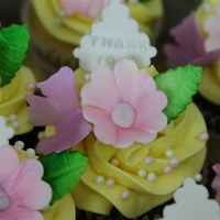 Cupcakes Cupcakes swirled with SMBC and decorated with a flower, leaf, plaque and butterfly and some sprinkles.
