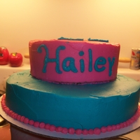Teal And Pink Buttercream, and jam filling