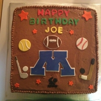 Sports Cake Chocolate buttercream frosting - sports theme