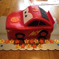 Lightning Mcqueen Lightning McQueen cake that I made for my nephew's birthday. First carved cake I've made. Covered in buttercream with fondant...
