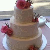 Wedding Cake With Pink Flowers
