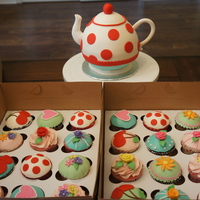 Teapot Cake And Cupcakes For A Tea Party Teapot cake and cupcakes for a tea party!