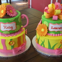 Garden Tea Party Two matching cakes made for a joint garden tea party themed birthday party for two little girls. All buttercream with fondant accents....
