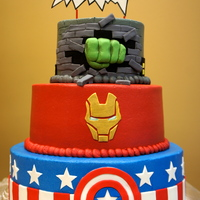 Superhero Cake Avengers On The Front Superhero cake- Avengers on the front...