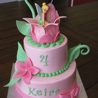Tinkerbell Cake Fudge cake with pb filling and vanilla with strawberry filling, iced in buttercream with fondant/gumpaste decorations. Tink is a candle......
