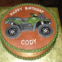 4 Wheeler Cake Made for a 16yr old boy who adores his ATV- they were very specific that it was a green Polaris sportsman 850 with snorkels, ha! All...