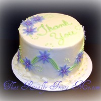 Thank You Cake My version of a thank you note for a friend. The flowers are fondant. The rest is buttercream.