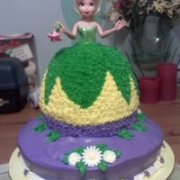 Tinkerbell This is a Tinkerbell doll in the cake bottom. Had to add another small cake under it because the doll was a little taller than the cake...
