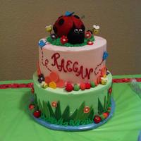 Raegan's Baby Shower Baby shower cake with lady bug, bees, flowers, caterpillars