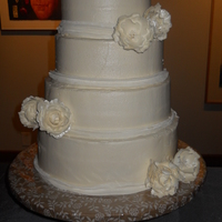 White Butter Cream Wedding Cake With Peonies All butter cream wedding cake with white gum paste peonies