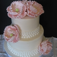 Pearls And Peonies   Small wedding cake with pearl molds and sugar peonies